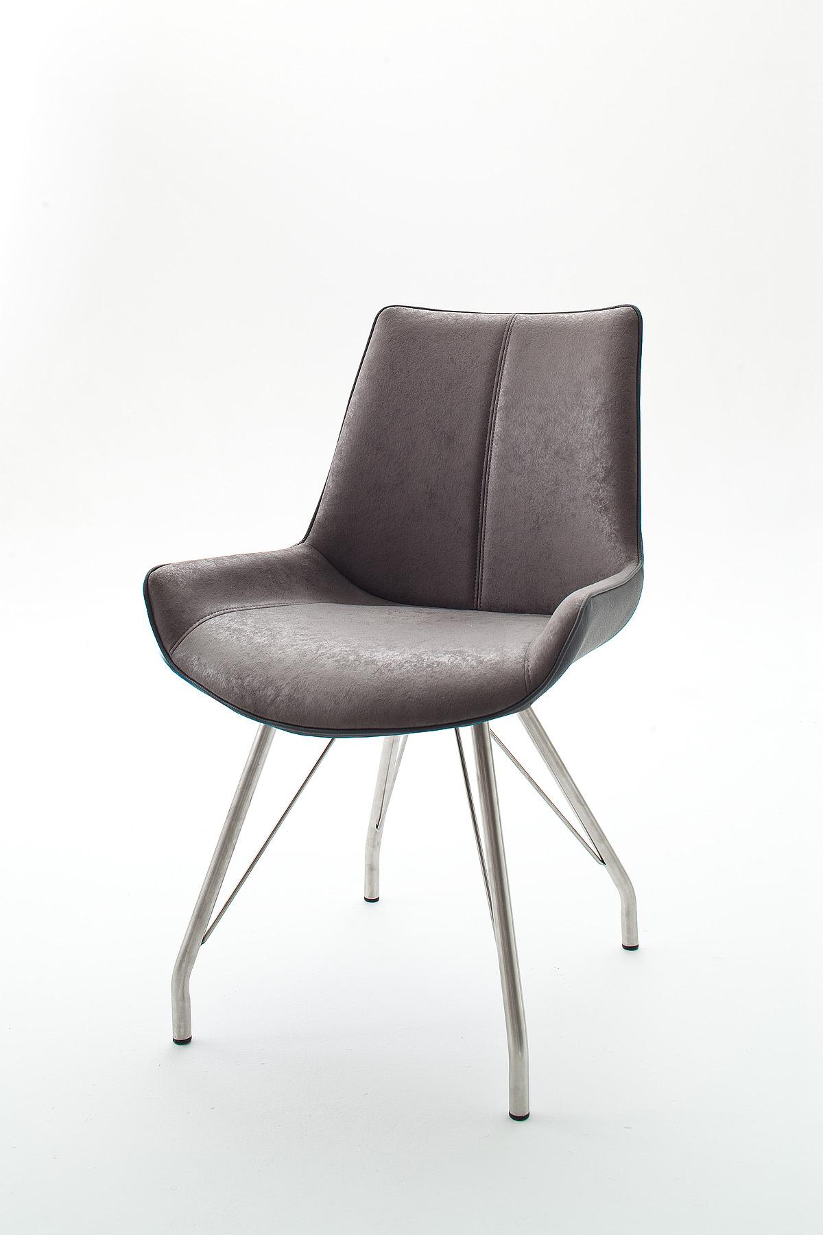 Chaise de salle à manger design tissu et PU (lot de 2) Rosita