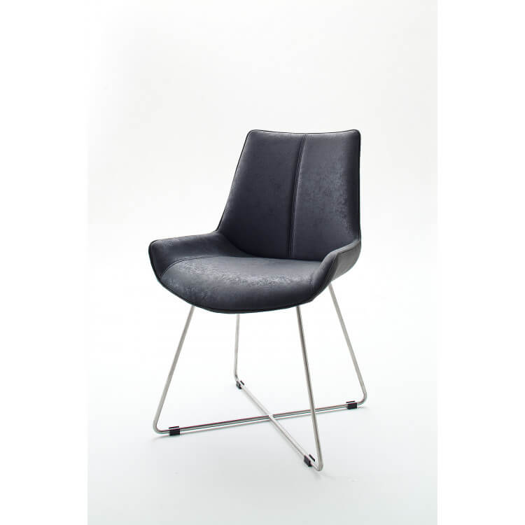 Chaise de salle à manger design tissu et PU anthracite (lot de 2) Anissa