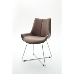 Chaise de salle à manger design tissu et PU cappuccino (lot de 2) Anissa