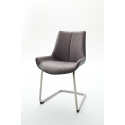 Chaise de salle à manger design tissu et PU gris (lot de 2) Odessa