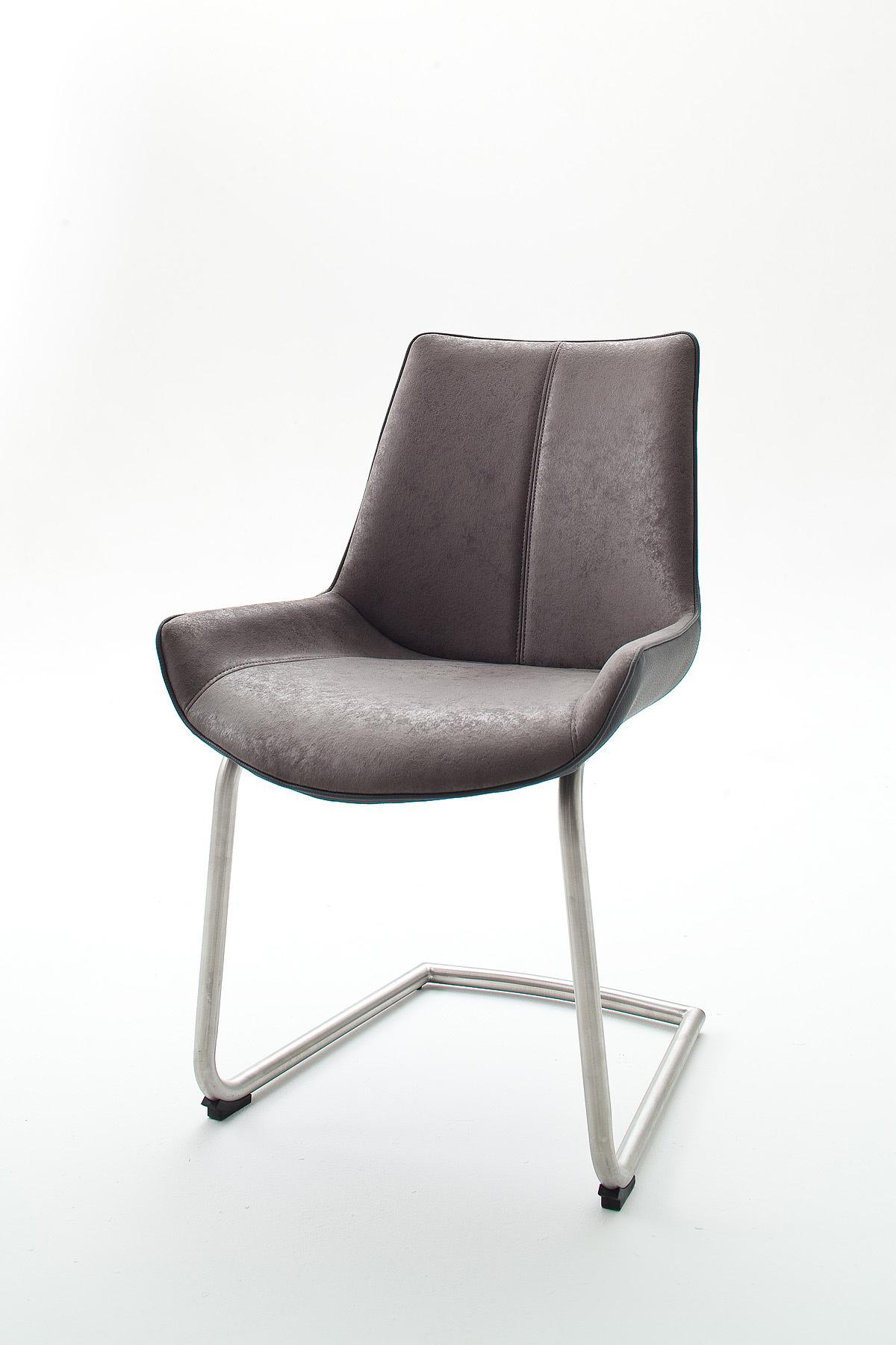 Chaise de salle à manger design tissu et PU (lot de 2) Odessa