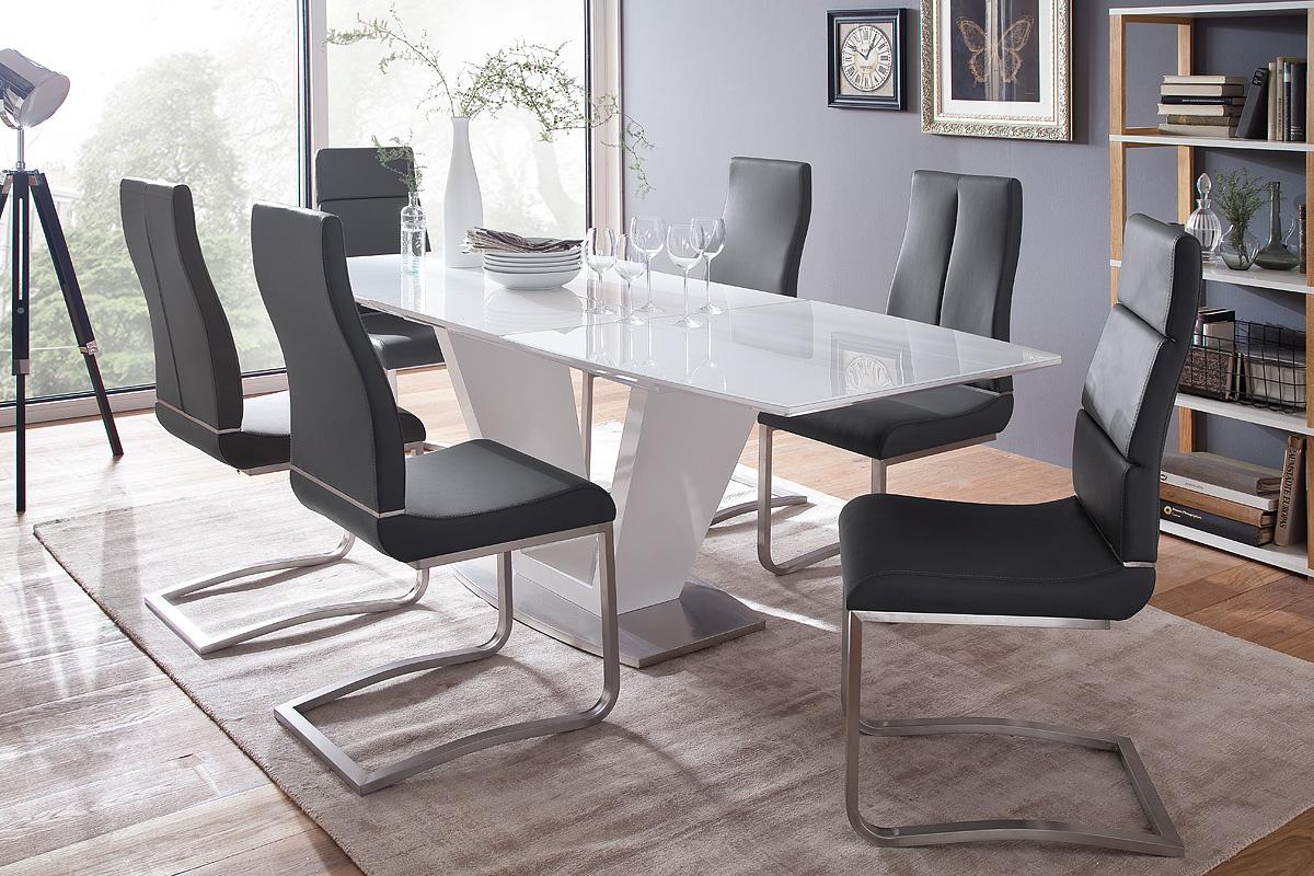 Table de salle manger design extensible laqu e blanche - Table design salle a manger ...
