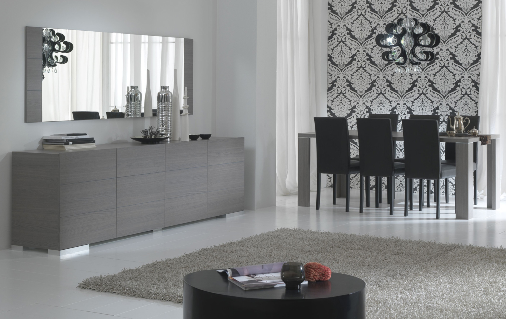 Salle à manger contemporaine chêne gris Flora
