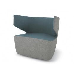 Fauteuil design 1 place en tissu gris/bleu Jordana