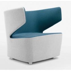 Fauteuil design 1 place en tissu beige/bleu Jordana