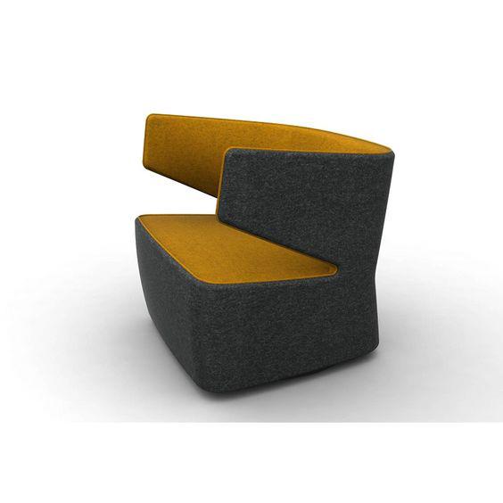 Fauteuil design 1 place en tissu anthracite/orange Jordana