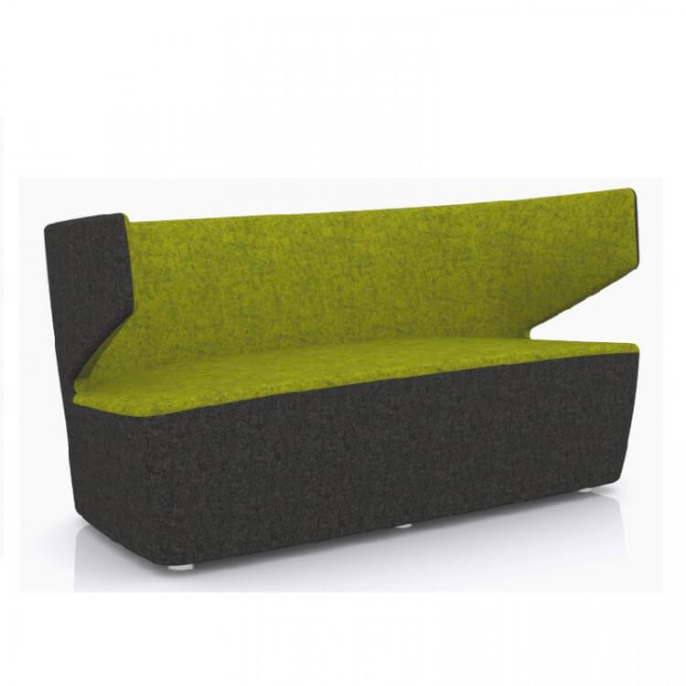 Canapé design 2 places en tissu anthracite/vert Jordana