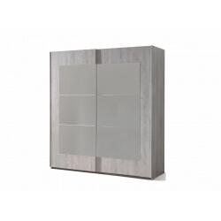 Armoire adulte contemporaine portes coulissantes chêne grisé Gerona
