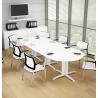 Table de réunion contemporaine ovale blanche Maldive