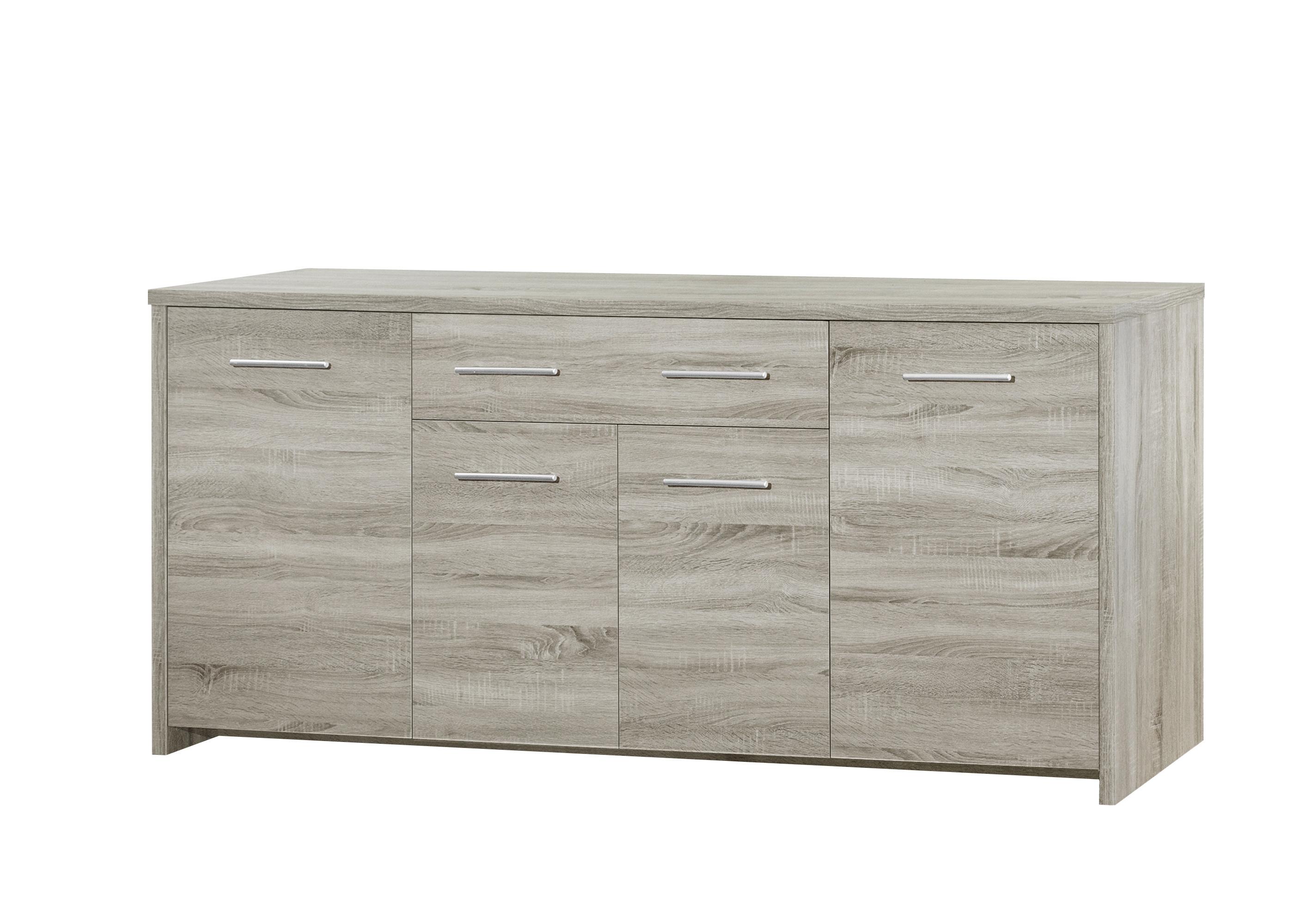 Buffet/bahut contemporain 210 cm coloris chêne gris Vigo