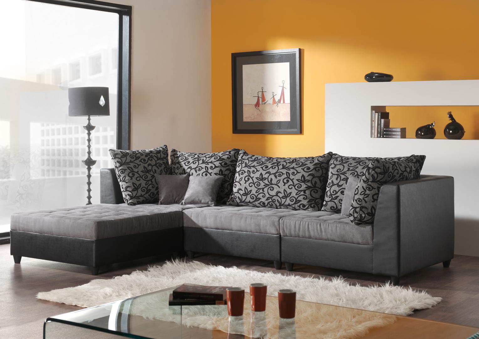 Canapé d'angle modulable contemporain en tissu gris Wiki