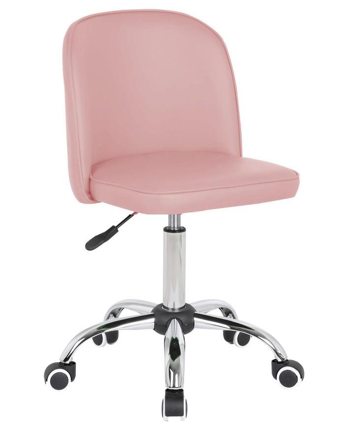 Chaise de bureau enfant design en PU rose clair Augustine