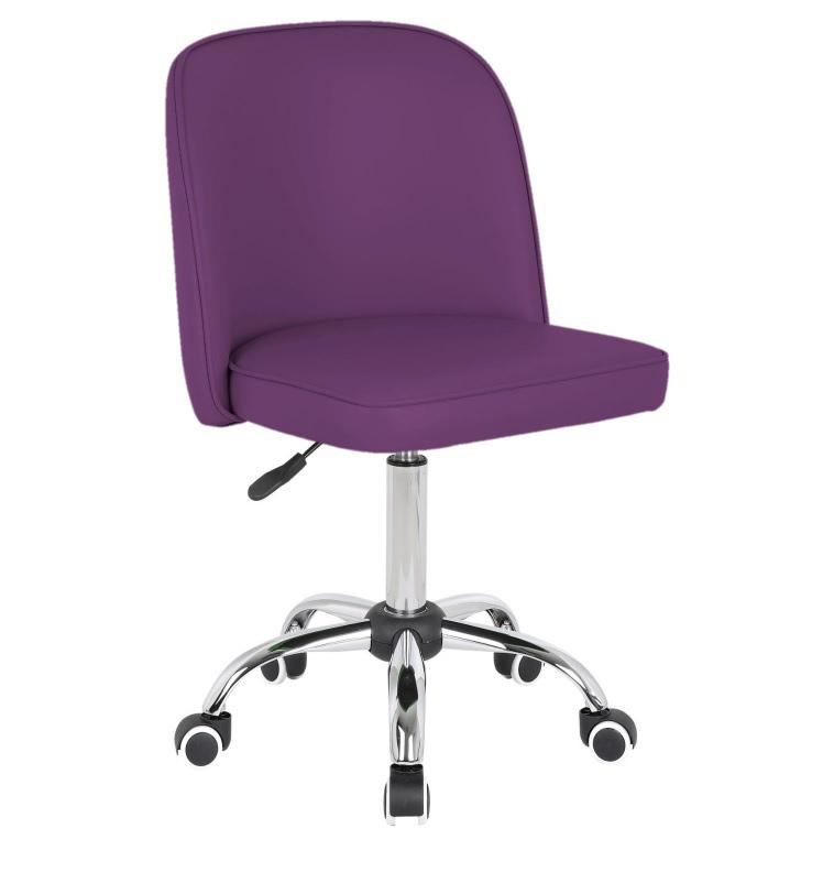 Chaise de bureau enfant design en PU mauve Augustine