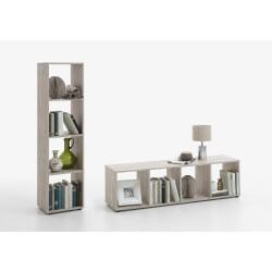 Etagère rectangulaire contemporaine 4 compartiments chêne Elba
