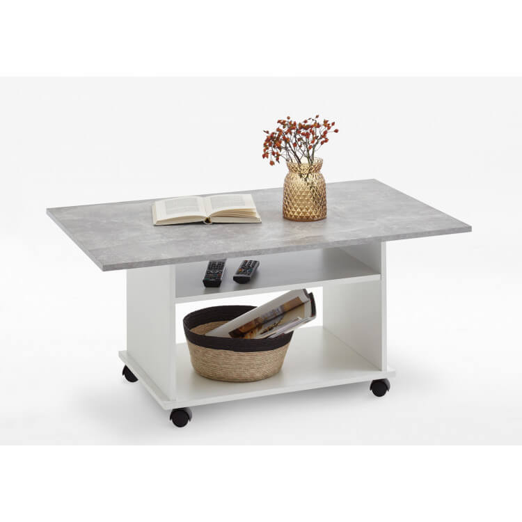 Table basse contemporaine blanc/gris béton Johana