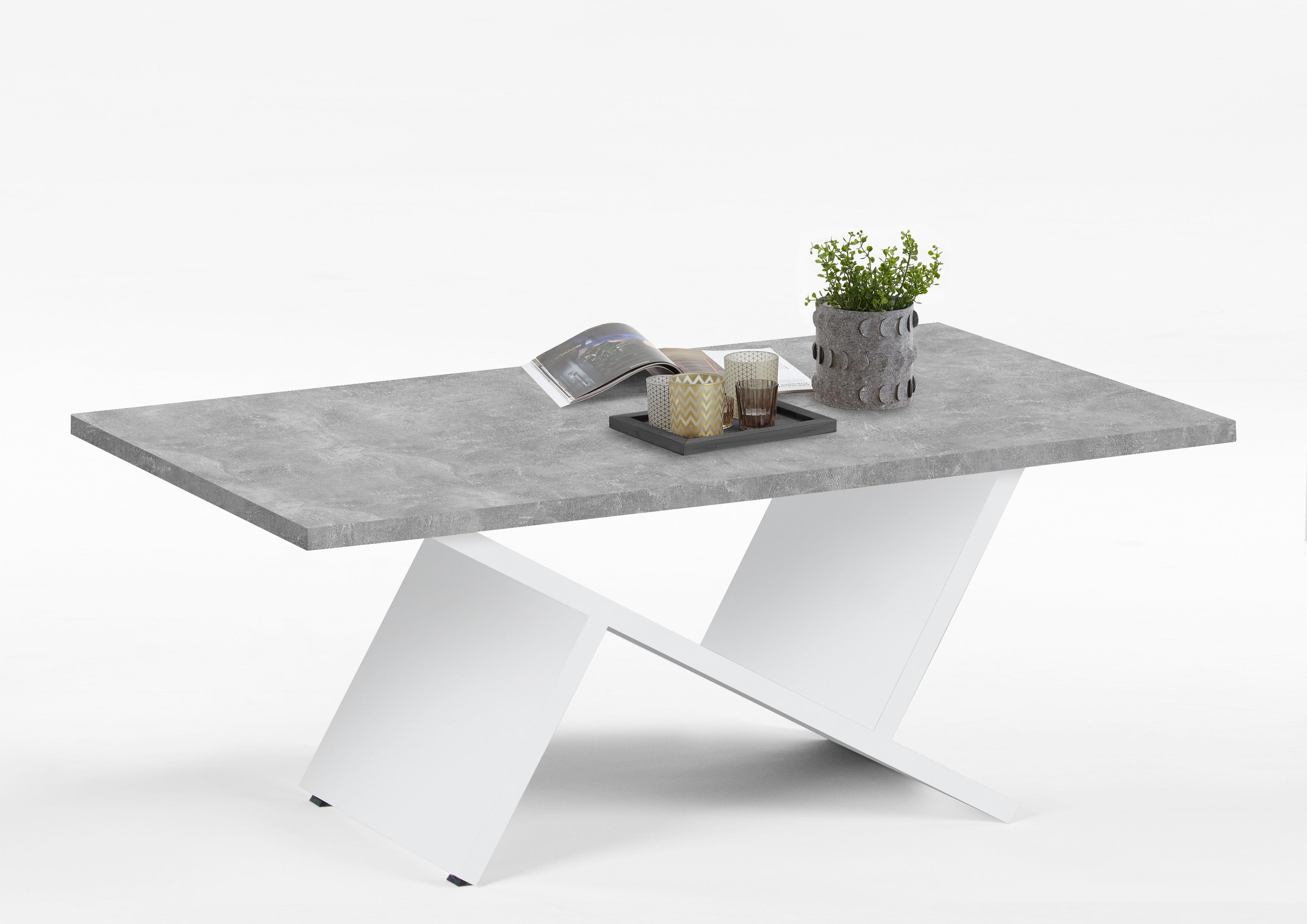 Table Basse Design Gris Beton Blanc Ariana Matelpro
