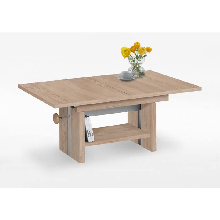 Table basse contemporaine extensible réglable en hauteur coloris chêne Crisaline