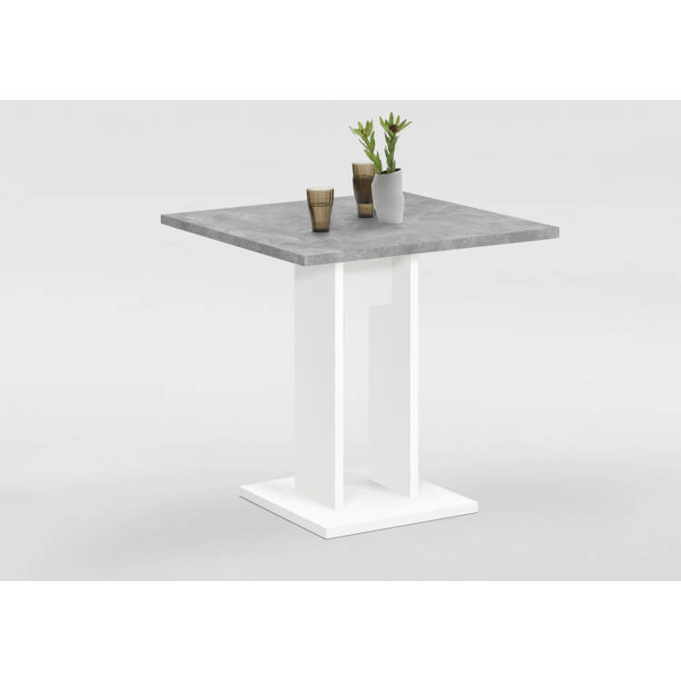 Table de cuisine contemporaine gris béton/blanc Anatole