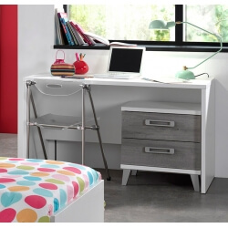 Bureau enfant contemporain blanc/gris Betty