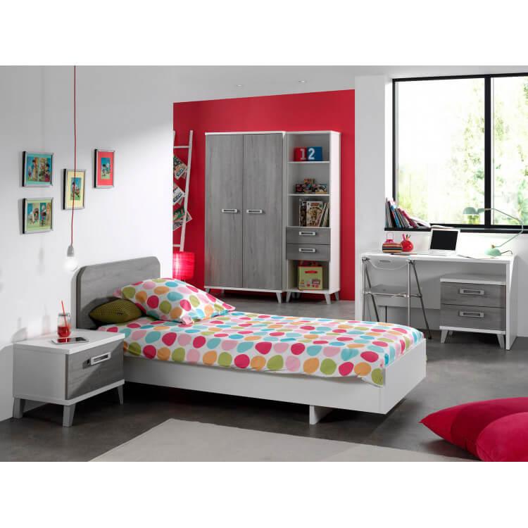 Chambre enfant contemporaine coloris blanc/gris Betty