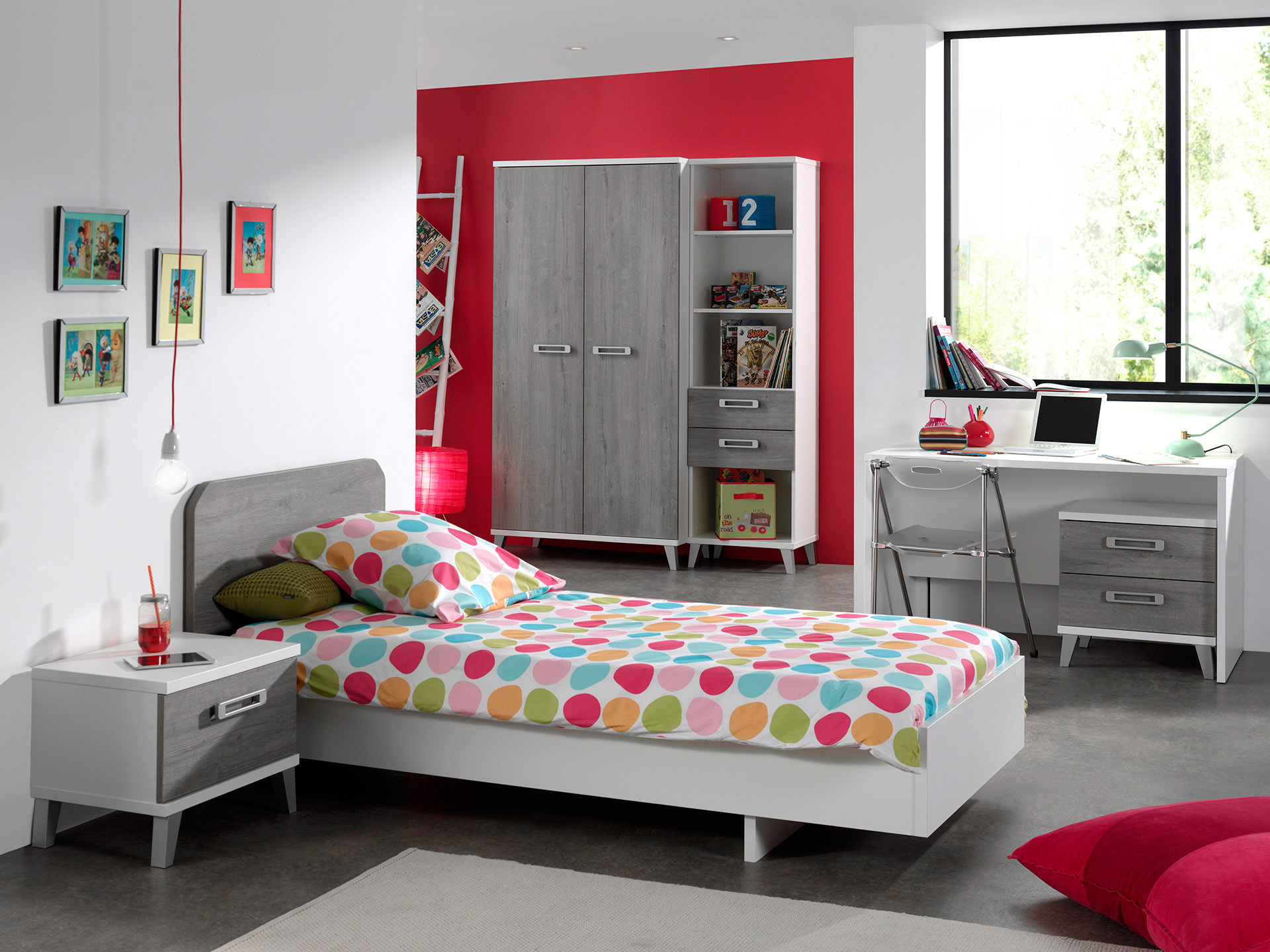 Chambre enfant contemporaine coloris blanc/gris Betty | Matelpro