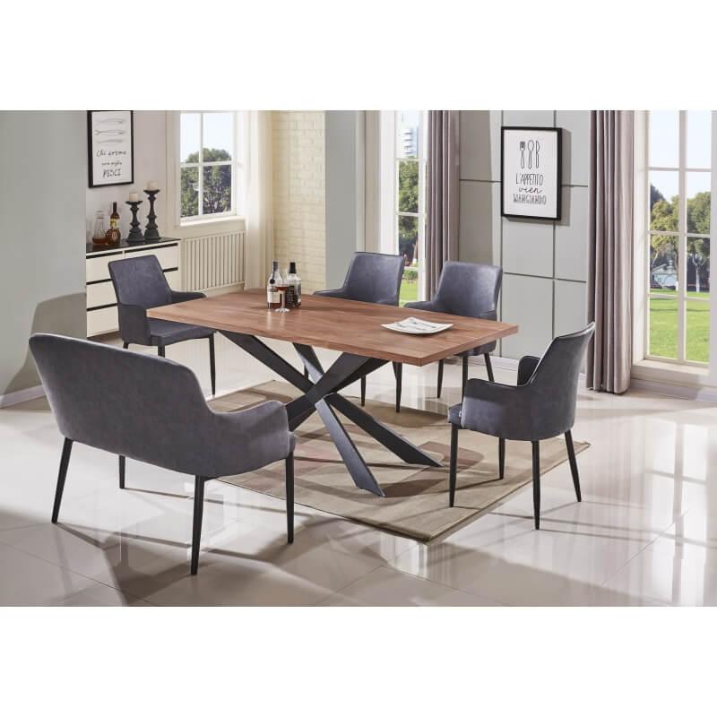 Table de salle manger design coloris noyer elisa matelpro - Table salle a manger design ...