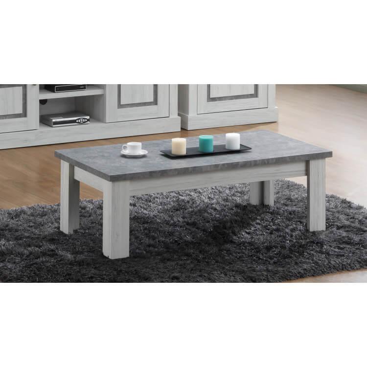 Table basse contemporaine chêne clair/gris béton Emmanuelle