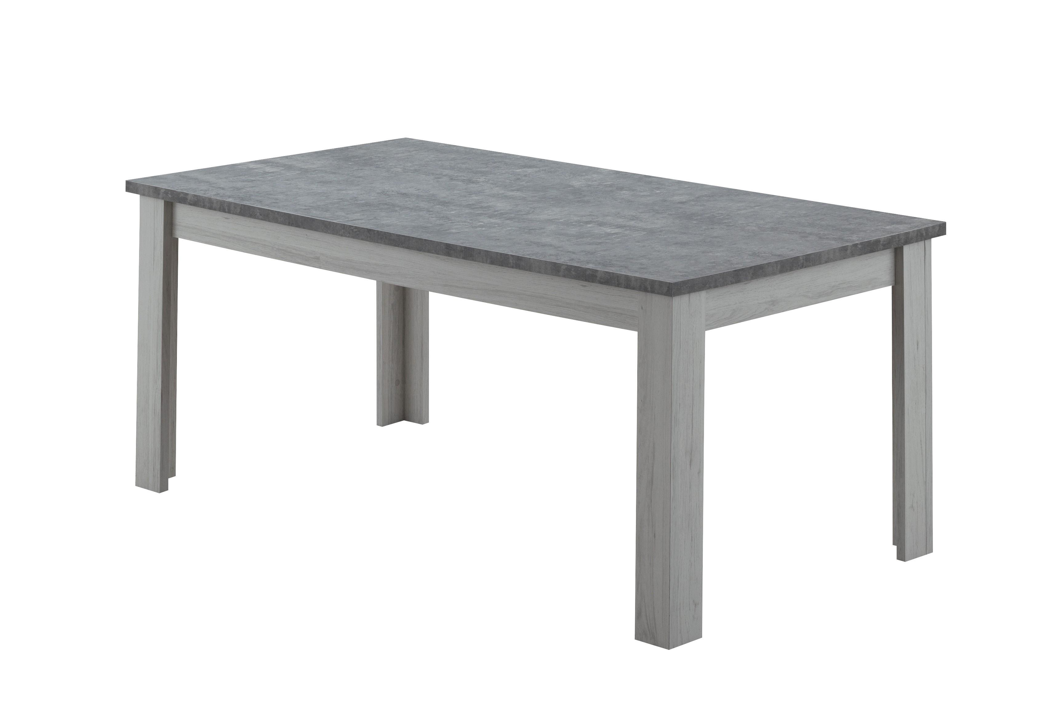 Table de salle à manger contemporaine chêne clair/gris béton Emmanuelle