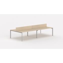 Bureau bench contemporain 4 personnes 280 cm avec cloisonnette Regis