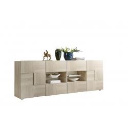 Buffet/bahut contemporain 2 portes/4 tiroirs chêne clair Elsa