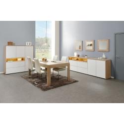 Salle à manger contemporaine chêne canberra/blanc Lazare