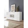 Buffet/bahut design 2 portes/2 tiroirs blanc laqué brillant sérigraphié Orlane