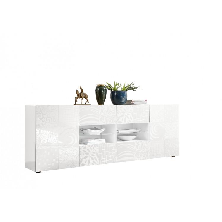 Buffet/bahut design 2 portes/4 tiroirs blanc laqué brillant ...