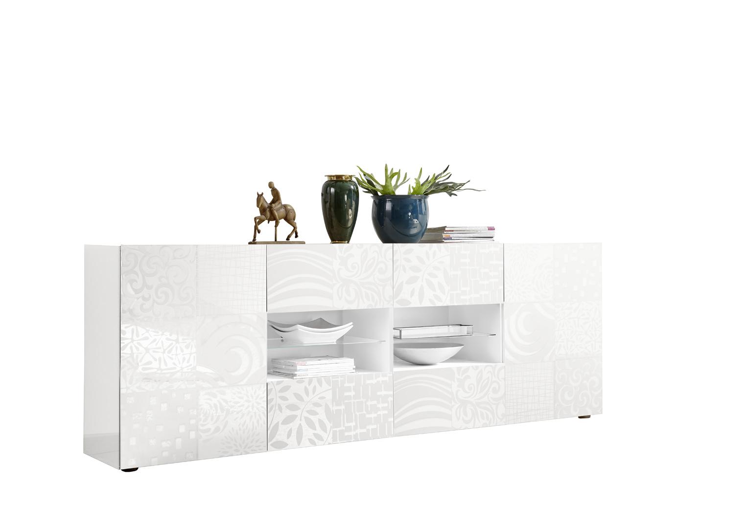 Buffet/bahut design 2 portes/4 tiroirs blanc laqué brillant sérigraphié Orlane