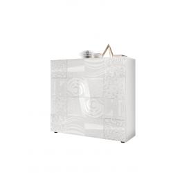 Vaisselier/argentier design 2 portes blanc laqué brillant sérigraphié Orlane
