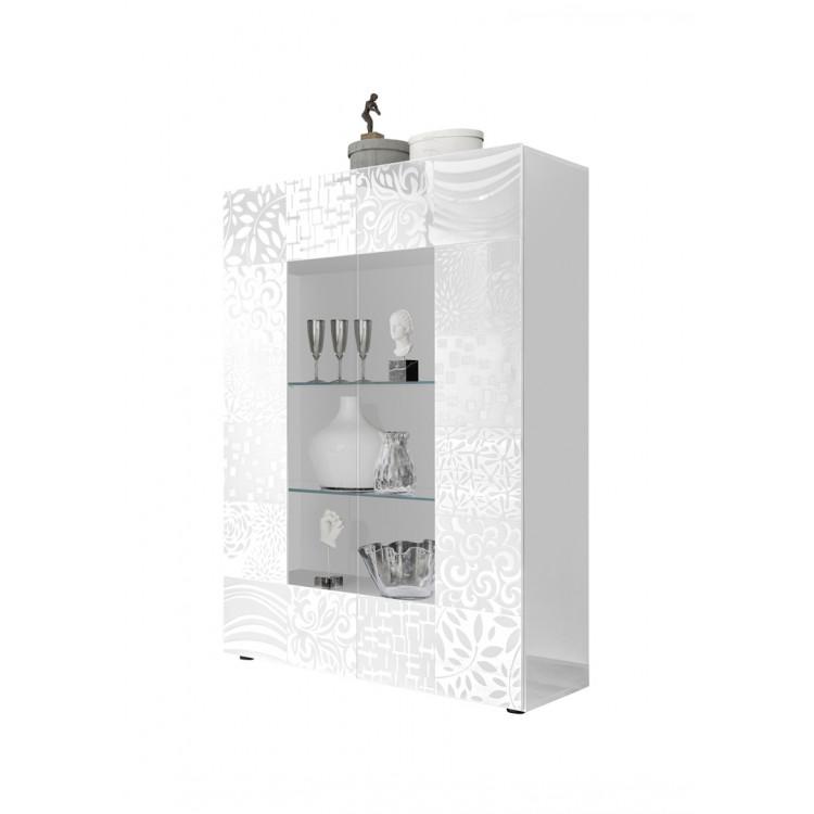 Vitrine design blanc laqué brillant sérigraphié Orlane