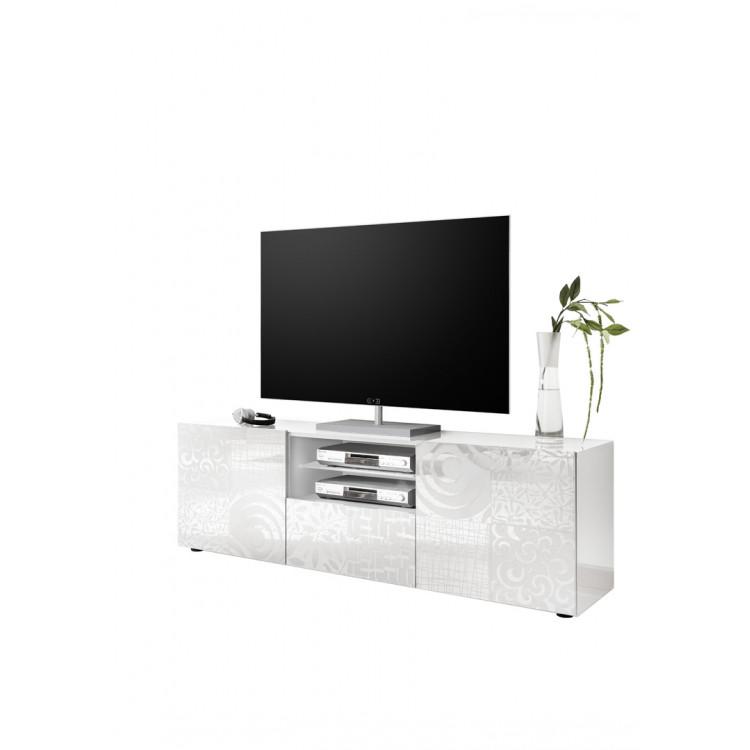 Meuble Tv Design Blanc Laque Brillant Serigraphie Orlane Matelpro