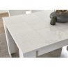 Table de salle à manger design blanc laqué brillant sérigraphié Orlane