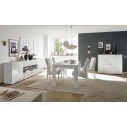 Salle à manger design blanc laqué brillant sérigraphié Orlane