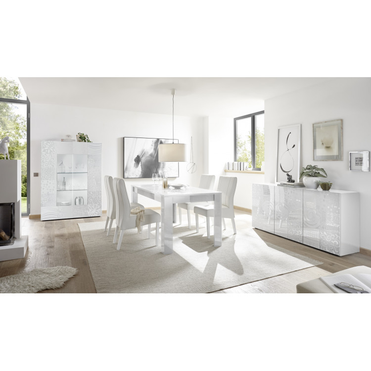 Salle à manger design blanc laqué brillant sérigraphié Orlane I