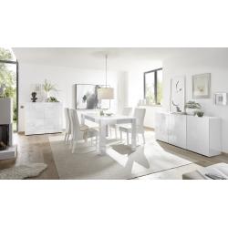 Salle à manger design blanc laqué brillant sérigraphié Orlane II