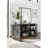 Buffet/bahut design 3 portes gris laqué brillant sérigraphié Evira