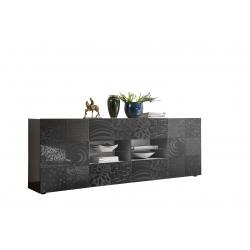 Buffet/bahut design 2 portes/4 tiroirs gris laqué brillant sérigraphié Evira