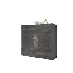 Vaisselier/argentier design 2 portes gris laqué brillant sérigraphié Evira