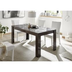 Table de salle à manger design gris laqué brillant sérigraphié Evira