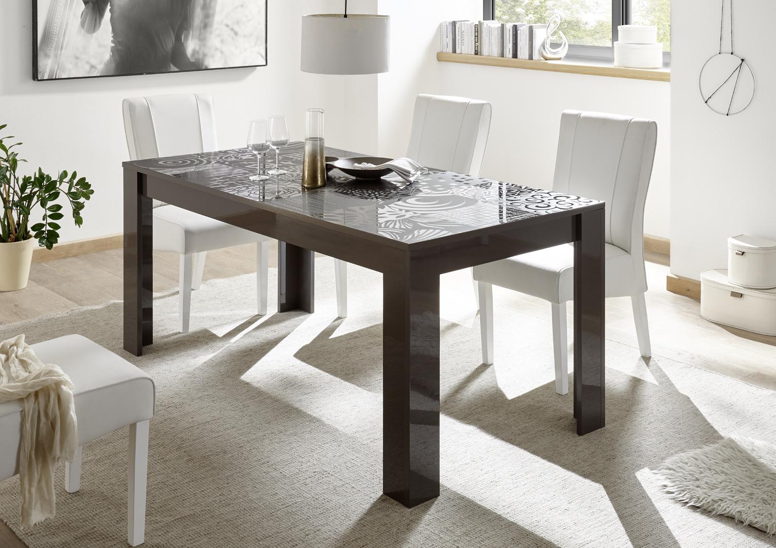 Table de salle à manger design gris laqué brillant sérigraphié Evira ...
