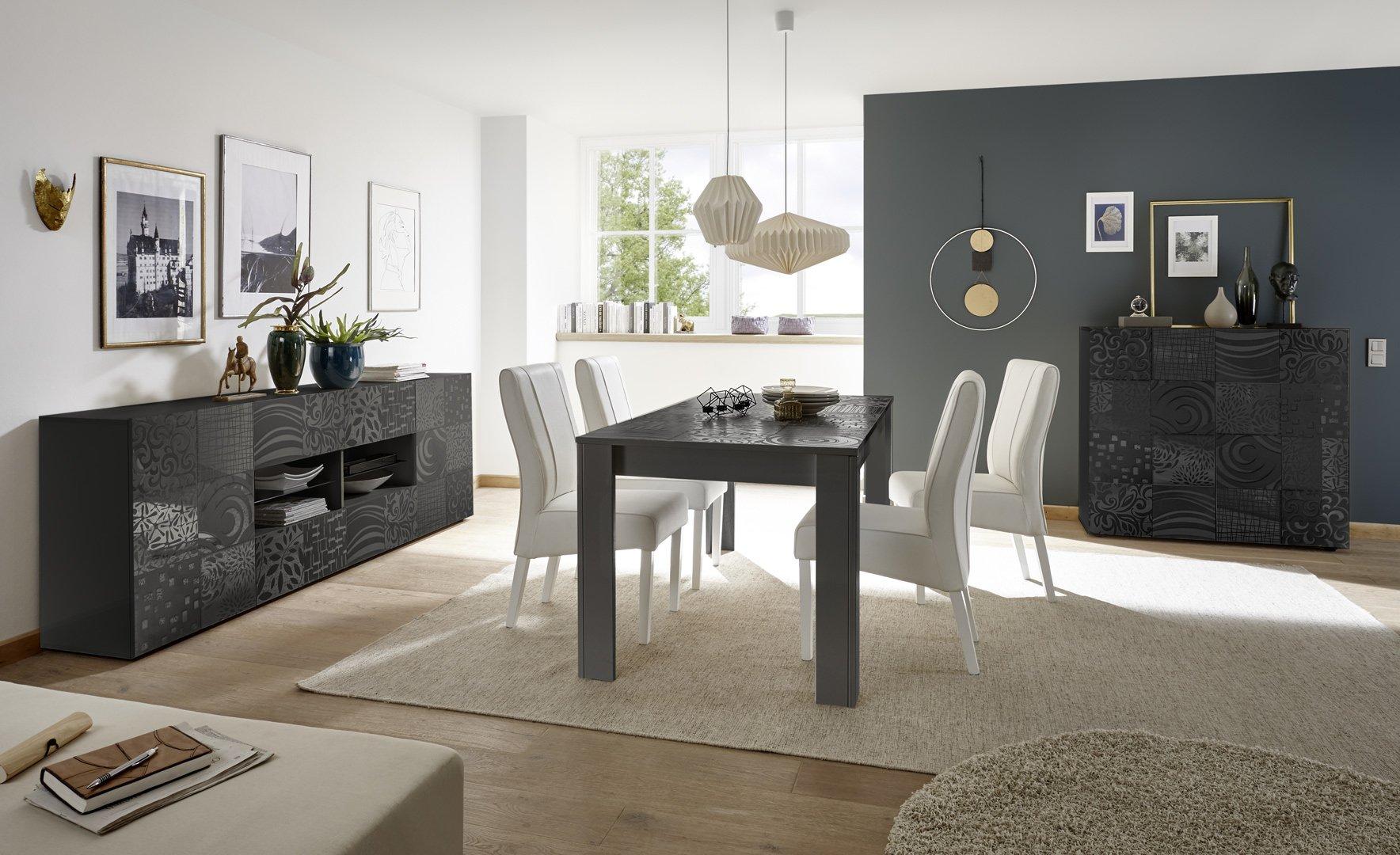 Salle à manger design gris laqué brillant sérigraphié Evira