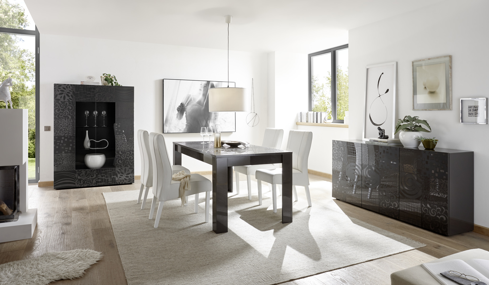 Salle à manger design gris laqué brillant sérigraphié Evira I | Matelpro