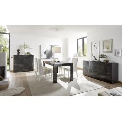Salle à manger design gris laqué brillant sérigraphié Evira II