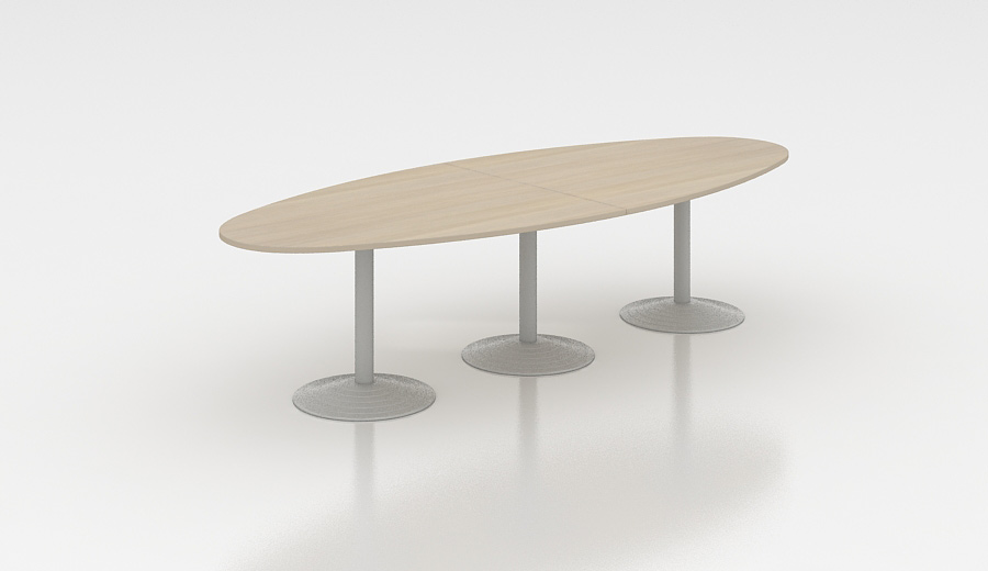 Table de réunion ovale 300 cm acacia clair Erika
